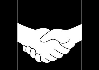 Illustration zweier Hände als Zeichen für transparenten Handel