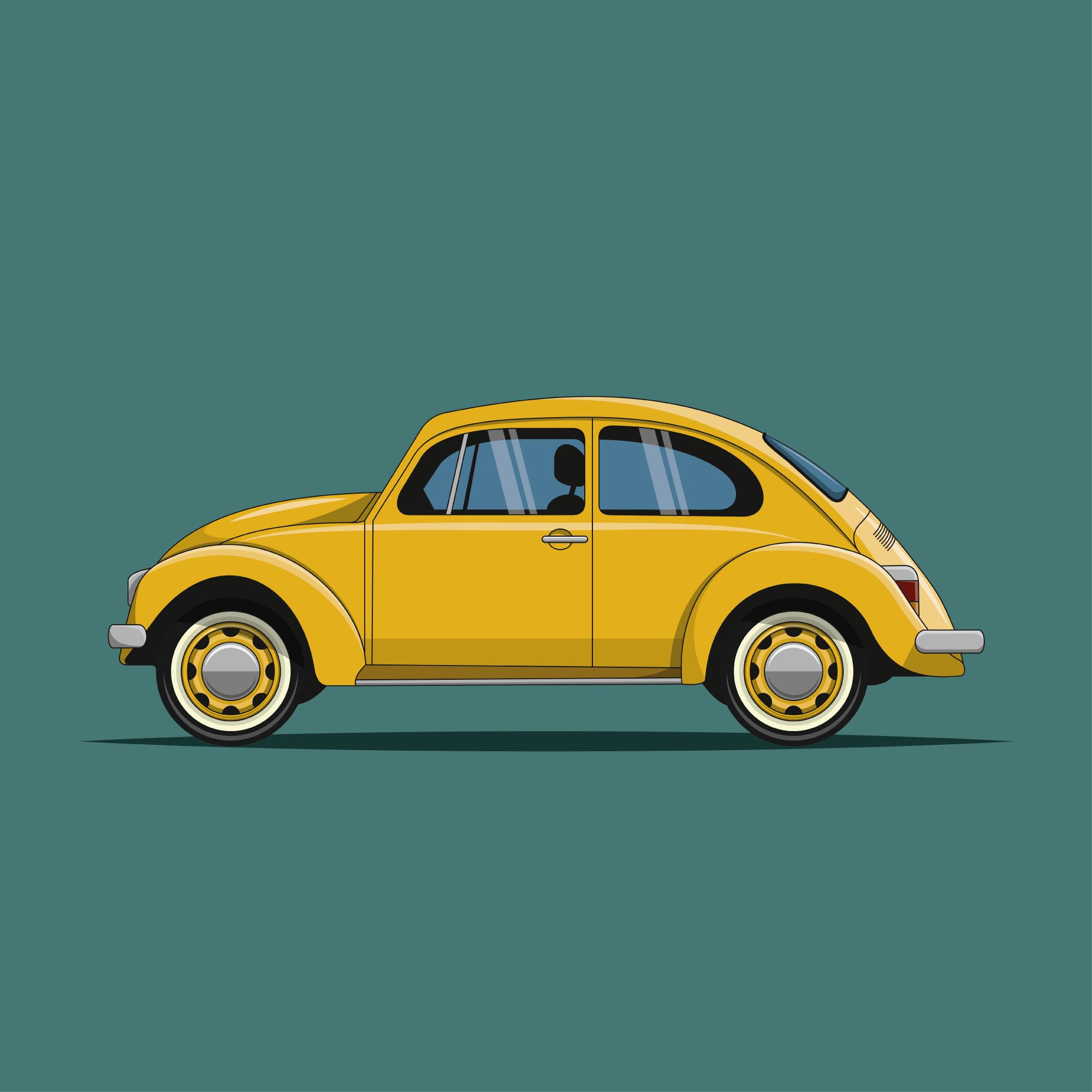 Illustration-VW-Käfer. Gelbes VW Auto auf grünem Hintergrund. Enstanden ist dieses Bild in Adobe Illustrator